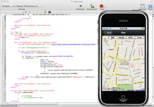 Xcode, iPhone Simulator, PhoneGap and jQuery Mobile in action.